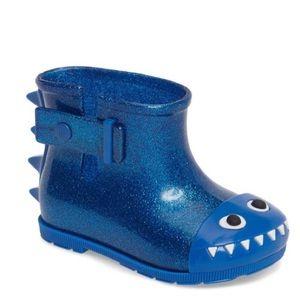 Mini Melissa blue dinosaur rain bootie